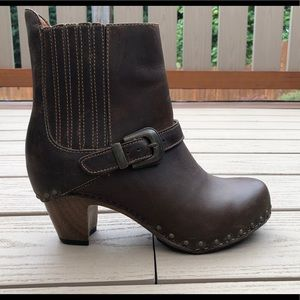 Dansko Brown Leather Buckle Ankle Boots